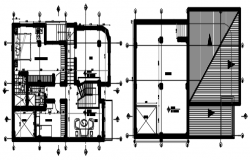 Floor plan of the house with roof plan in dwg file