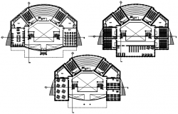Floor plan of the institute with detail dimension in dwg file