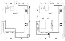 Floor plan of the kitchen with detail dimension in dwg file