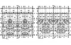 Floor plan of the multifamily house with furniture details in dwg file