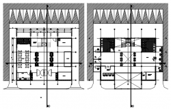 Floor plan of the office building with detail dimension in dwg file