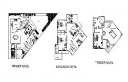 Floor plan of the residential house with furniture detail in dwg file