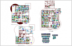 Floor plan view of hospital with air conditioning system and detail view dwg file