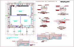 Floor plan with architectural detail of laboratory dwg file