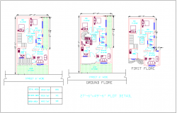 Floor plan with architectural view of house dwg file