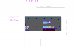 Floor plan with architectural view of office 22 number floor dwg file