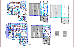 Floor plan with cover plan of hospital dwg file