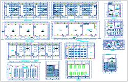 Floor plan with door and window detail of collage dwg file