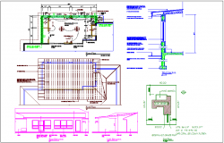 Floor plan with electrical view and roof plan of house dwg file