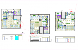 Floor plan with elevation of IIMM office with architectural view dwg file