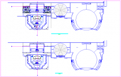 Floor plan with roof plan for commercial complex dwg file
