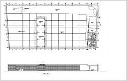 Floor plan with sectional view for recycle plan dwg file