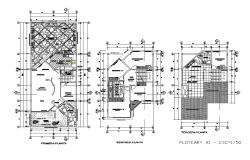 Floor plan with terrace plan details of one family house dwg file