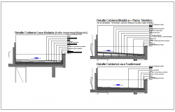 Floor slab, building section view detail impermeable information dwg file