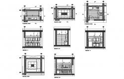Flooring layout, ceiling layout, section and furniture details of office kitchen dwg file