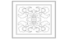 Floral ceiling design dwg file