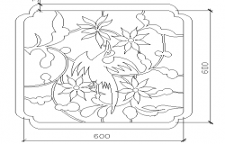 Flower and bird print window design cad blocks dwg file