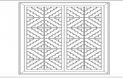 Flower pattern window design cad blocks dwg file