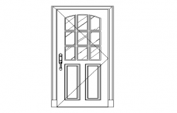 Flush panelled type of door dwg file