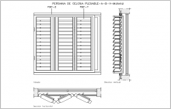 Folding Cecelia shutter door design view with sectional view dwg file