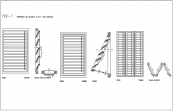 Folding door design view with sectional view dwg file