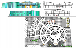 Food market elevation, sections and structure layout details dwg file