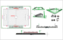 Football ground plan layout area, elevation section area dwg file