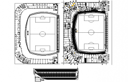 Football stadium plan detail dwg file