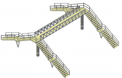 Footbridge design plan detail dwg file.