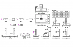 Footing and column structure details of house dwg file