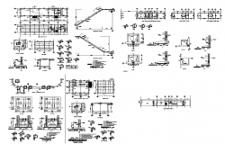 Footing and foundation detail structure 2d view layout dwg file