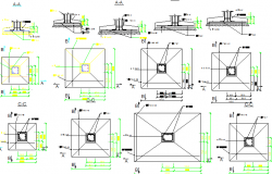 Footings construction details of building dwg file