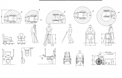 For disabled people machinery plan detail dwg.