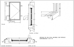 Fordable leaf window design with sectional view dwg file