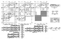 Foundation, cover plan, beam schedule and constructive structure details dwg file