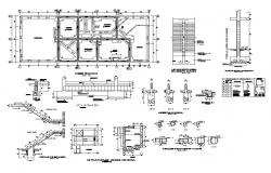 Foundation, staircase and several constructive structure details of house dwg file