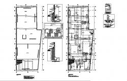 Foundation and cover plan details of house floors dwg file