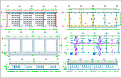 Foundation and roof plan of classroom with construction view dwg file