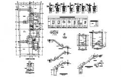 Foundation and staircase constructive cad drawing details dwg file