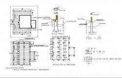 Foundation beam and staircase construction details dwg file
