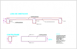 Foundation detail with wall view with construction view for house dwg file