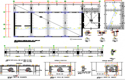 Foundation details of column and beam of school construction dwg file