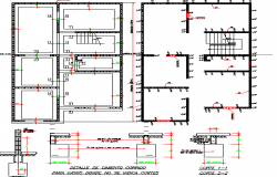 Foundation details with column and beam of building dwg file