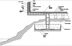 Foundation in jut section detail dwg file