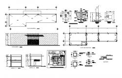Foundation plan, cover plan, first floor plan and column details of hospital dwg file