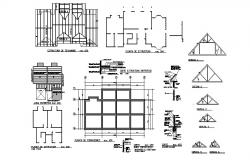 Foundation plan, cover plan and structure details of house dwg file