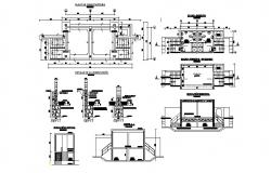 Foundation plan, sanitary installation and structure details of sports center dwg file