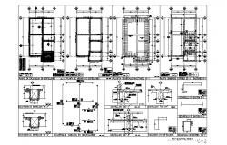 Foundation plan, framing plan and construction details of house dwg file