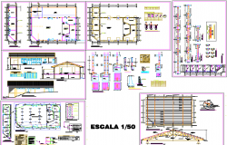 Foundation plan and Construction working plan detail dwg file
