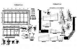 Foundation plan and ramp walk construction details dwg file